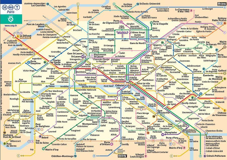 План парижского метро и RER на