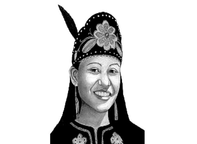 Представительница ирокезского племени кайюга (cayuga, cayugas) в тиаре-оголовье, украшенной бисером и пером. С документального рисунка.