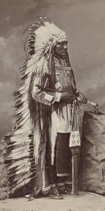 Студийный снимок около1880 г. одного из вождей из племени оглала (ogala, oglala), - племени, принадлежавшего к западным, или равнинным сиу (sioux). Здесь вождь позирует в головном уборе индейского воина warbonnet (в длинном варианте). Фотография из Национального музея американских индейцев (Museum of the American Indian, часть Смитсоновского музея в Вашингтоне, столице США). Такие головные уборы изготовлялись из орлиных перьев, шерстяной ткани, стеклянных бус, веревки и ниток, конского волоса, меха, пуха, красителя.