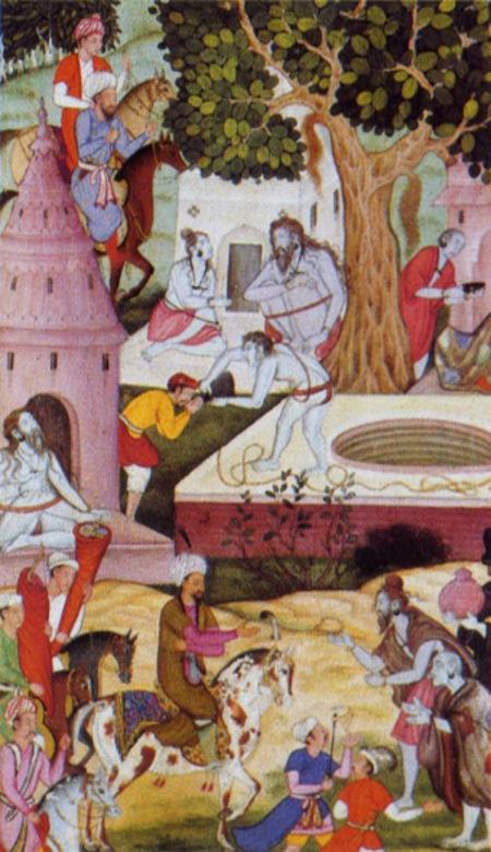 Весьма значительное мусульманское население Индостана легко подчинилось завоевателям, но приверженцы индуизма, например, военная индуистская знать раджпуты, активно выступили против нового режима. Раджпутский правитель княжества Мевар в Раджастане Рана Санга стал в первое время после покорения Бабуром Индии его главным противником. Между Рана Санга и новым правителем Дели началась война, окончившаяся победой последнего в битве при Кхануа (март 1527 года). В ходе завоевания Бабур провозгласил священную войну против неверных, расширяя границы нового государства и подавляя постоянно вспыхивающие восстания. Тем не менее, Бабур пытался проявлять и терпимость. Здесь, на могольской миниатюре из жизнеописания Бабура «Бабурнаме», правитель посещает индийских отшельников-аскетов с приветственным визитом. Вообще же Бабур не слишком любил Индию. Он испытывал ностальгию по горам Центральной Азии и говорил, что « в индийских городах вовсе нет живой воды», а поэтому в Агре, куда Бабур перенес столицу из Дели, этот Великий Могол устроил множество садов.