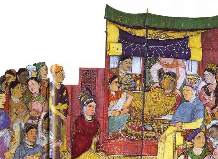 Рождение будущего Великого Могола Джахангира (правил в 1605-1627 гг.). Могольская миниатюра 1610-1615 гг. из жизнеописания Джахангира «Джахангирнаме». В 1562 году Акбар женился на дочери раджи Амбера Мариам, которая в 1569 году родила ему сына Джахангира. Тем самым династия раджпутов окончательно породнилась с династией моголов. Раджпутским принцессам, находившимся при могольском дворе, было разрешено по их просьбе исповедовать их индуистскую веру в специально построенном небольшом храме.
