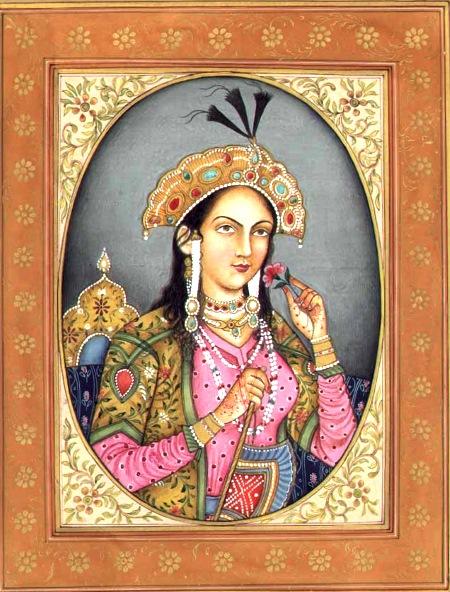 Мумтаз Махал- супруга Великого Могола Шах-Джахана. Для погребения Мумтаз и была построена усыпальница - Тадж Махал. Здесь изображение Мумтаз с миниатюры на слоновой кости (XIX век). Музей Тадж-Махал, Агра.