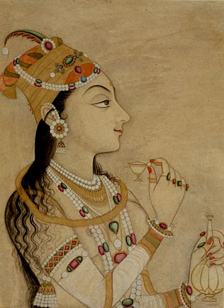 На могольской миниатюре, датируемой ок. 1725 годом, изображена супруга императора Джахангира, властная Нур Джахан, которую историки обычно противопоставляют сторонившейся политической власти Мумтаз Махал. Интересно, что на этой миниатюре Нур Джахан показана художником, жившем в следующем от нее столетии, в виде девушки почти легкого поведения. По одной из версий, она и начинала свою жизнь пленницей гарема, хотя по происхождению принадлежала к знатной семье.