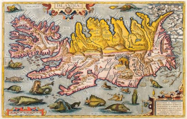 Карта Исландии нидерландского картографа Абрахама Ортелия (Abraham Ortelius) 1590 года. Карта сопровождается рисунками, изображающих полуфантастических животных.