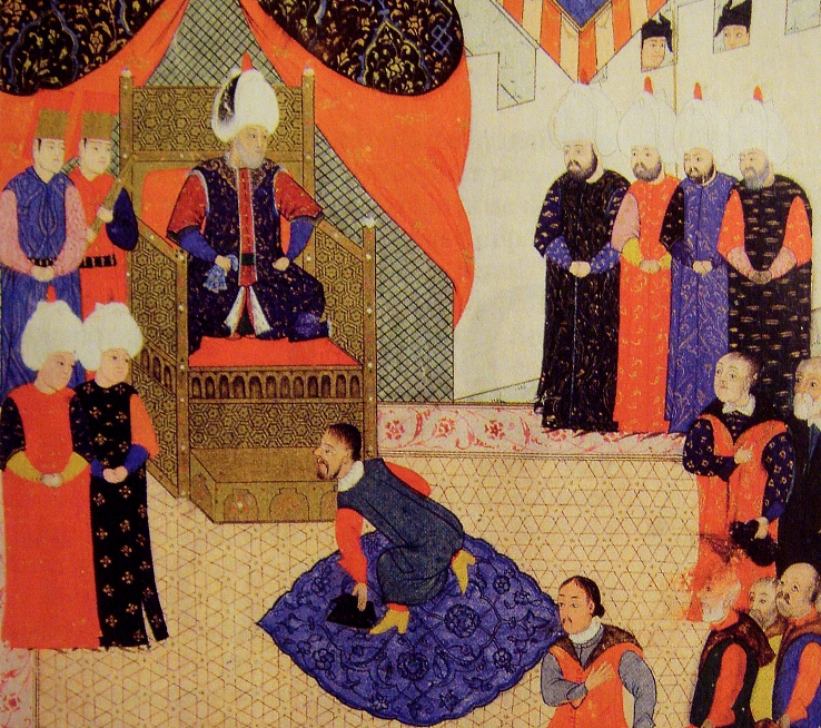 На старинной миниатюре изображен султан Сулейман Великолепный в последний год своей жизни и правления. На илл. показано как Сулейман в 1556 году принимает правителя Трансильвании венгра Иоанна II (Яноша II) Запольяи. Вот предыстория этого события. Иоанн II Запольяи был сыном воеводы Запольяи, который в последний перед османским вторжением период существования независимой Венгрии управлял областью Трансильвания, - частью Венгерского королевства, но с большим румынским населением.После завоевания молодым султаном Сулейманом Великолепным Венгрии в 1526-м г., Запольяи стал вассалом султана, и его область, единственной из всего бывшего Венгерского королевства, сохраняла государственность. (Еще одна часть Венгрии тогда стала частью Османской империи в качестве Пашалыка г. Буды, а еще одна - отошла к Габсбургам). В 1529 году, в ходе своей неудачной кампании завоевания Вены, Сулейман Великолепный, посетив Буду, торжественно короновал в Запольяи короной венгерских королей. После кончины Яноша Запольяи и окончания периода регентства своей матери, правителем Трансильвании стал сын Запольяи - Иоанн II Запольяи, показанный здесь. Сулейман еще в годы младенчества этого правителя Трансильвании, в ходе церемонии с целованием этого ребенка, рано оставшегося без отца, благословил Иоанна II Запольяи на трон. На илл. показан момент как Иоанн II (Янош II) Запольяи, уже достигший к тому времени средних лет, трижды преклоняет колени перед султаном между отеческими благословениями султана. Сулейман тогда находился в Венгрии, ведя свою последнюю войну против Габсбургов. Возвращаясь из похода, под Белградом, султан вскоре и умер. В 1570 г. Иоанн II Запольяи передаст свою номинальную корону королей Венгрии Габсбургам, оставаясь князем Трансильвании (он умрет в 1571-м г.). Трансильвания будет автономной еще около 130 лет. Ослабление турок в Центральной Европе, позволит Габсбургам присоединить венгерские земли. В отличие от Венгрии, Юго-Восточная Европа, завоеванная Османской империей раньше, б